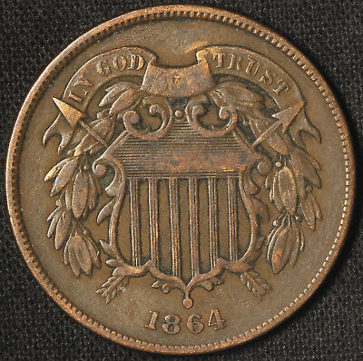 1864 Two Cent Piece - Large Motto - Free Shipping USA
