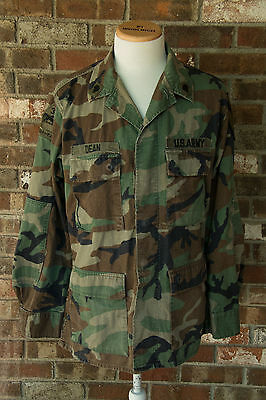 Mens Medium SHIRT Army Military Woodland Camouflage Button Long Sleeve