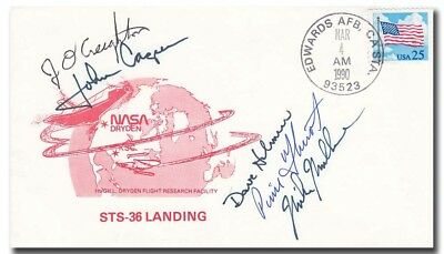 STS-36 complete crew handsigned EAFB landing cover - 3f415