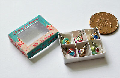 1/12th  Dolls House Miniature Tiny Jewelled Christmas Baubles With Box