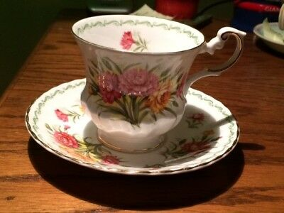 Rosina China Aster Queens Special Flowers Tea Cup and Saucer