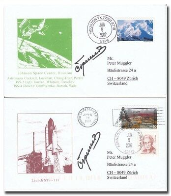 Sergey Treshev handsigned set of two STS-111 covers - 8f287