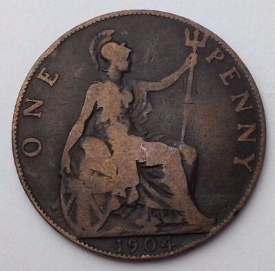 Dated : 1904 - One Penny - Coin - King Edward VII - Great Britain