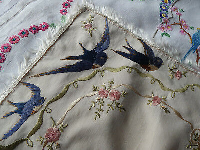 Vintage Hand Embroidered Tray Cloth/ Table Topper - Beautiful Bluebirds