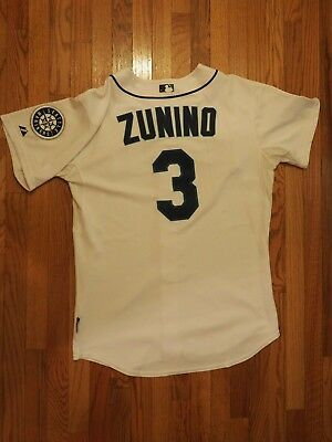 "Mike Zunino Game Used Worn 2013 Seattle Mariners Jersey ""HY"" Patch MLB HOLO"