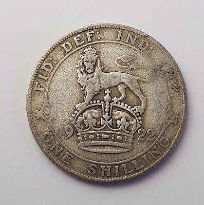 Dated : 1922 - One Shilling - Silver Coin - King George V - Great Britain