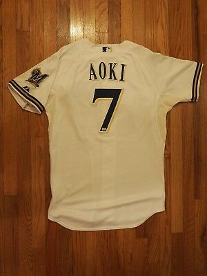 Norichika Nori Aoki Game Used Worn 2012 Milwaukee Brewers Home Jersey MLB HOLO