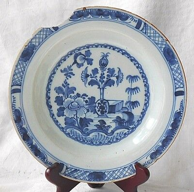 18Th Dutch Delft Plate Decorated With Flowers Within A Border