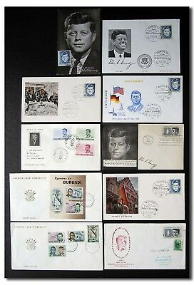 President Kennedy selection of 10 different comm. covers - 2f56