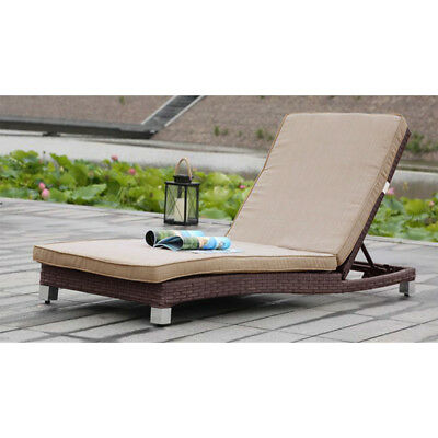 New! Adjustable Rattan Lounge Chair With Cushions - Brown Wicker Outdoor Lounger