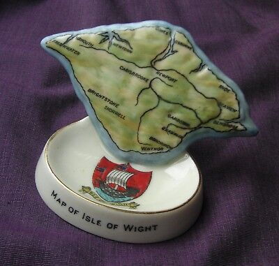 Arcadian Crested China. Isle Of Wight Relief Map On Pintray. Matching Crest.