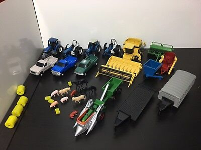 Ertl 1:64 Farm Equipment Lot (Combine, Oliver 88 Tractor, Trucks and Trailers)