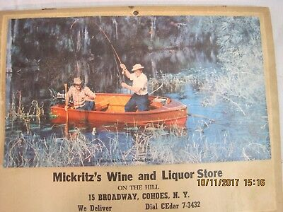 1954 calendar Mickritz's Wine & Liquor store Cohoes New York Martin Outboard
