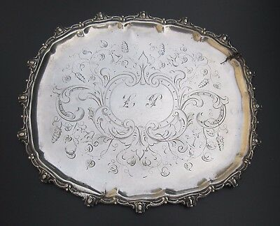 ANTIQUE 1840 -1879 VICTORIAN FRENCH SOLID STERLING SILVER TRAY 354 g