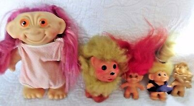 6 VINTAGE 1960s OLD retro TROLL dolls Rootie, English Lion, DAM, TAB, unmarked