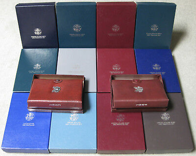 1983 thru 1997 Complete Run of 14 Prestige Proof Sets including Boxes & COA's