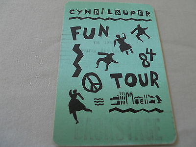 CYNDI LAUPER - backstage pass satin - FUN TOUR 1984 -