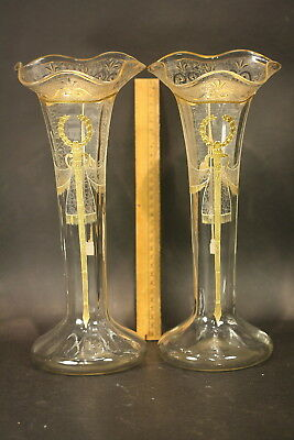 Antique Pr Etch And Enameled French Glass Flower Vases Hand Blown Great Quality