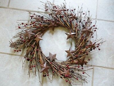 "Twig Wreath with Berries, Pine Cones and Rustic Metal Stars,  22"",  NEW"