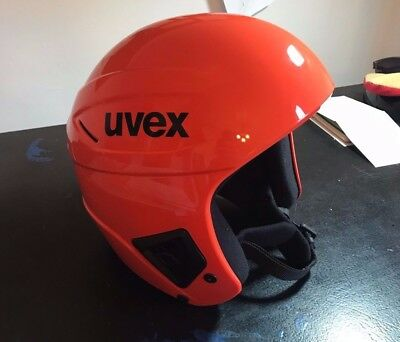 Uvex race + helmet 58-59cm LARGE orange race helmet FIS approved
