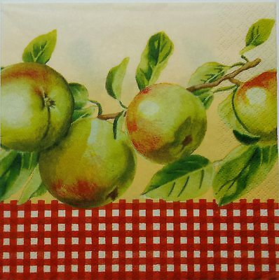 APPLES /& BLOSSOMS  2 single LUNCH SIZE  paper napkins for decoupage 3-ply