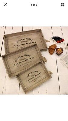 Breakfast trays- set of 3 matching, vintage chic & distressed look