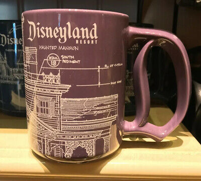 Disney Parks Disneyland Resort Haunted Mansion Blue Print D Handle Mug