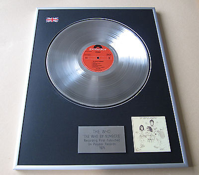 THE WHO The Who By Numbers LP Platinum Presentation Disc