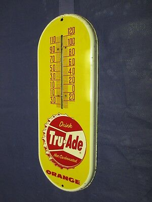 Vintage TRU-ADE Orange Soda Thermometer Metal Sign~Bottle Cap~Dated 1958~LQQK!