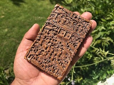 Antique Chinese Cantonese Sandalwood Card Case 1875.deeply Carved.strong Perfume