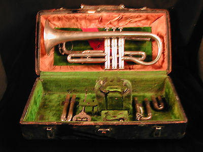 Cornet by Frank Holton silver 1910 Couturier model with case