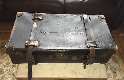 Antique Warranted Cowhide Leather suitcase bag hard strapped steamer trunk