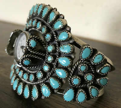 Vintage Native American Sterling Silver & Turquoise Watch Cuff Bracelet