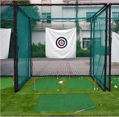 77Tech 10'x10'x10'Large Golf Hitting Cage Target Net with Complete Frame Kit & P