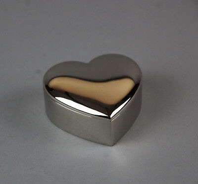 Heart-Shaped Silver Plated Jewellery Trinket Box (D5B)