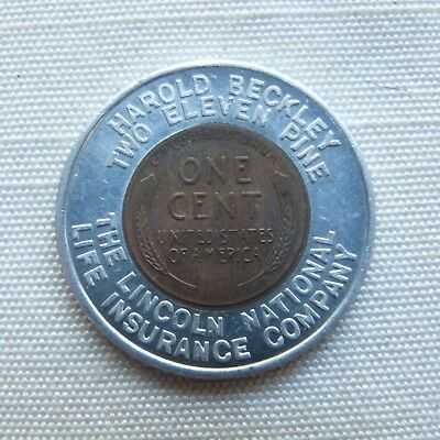 Fort Wayne Indiana The Lincoln National Life Insurance Co. 1956D encased penny