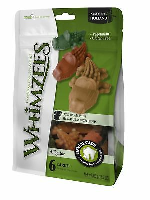 Whimzees Alligator Large 6 Pack - Healthy Vegetarian Gluten Xmas Dog Chews Treat