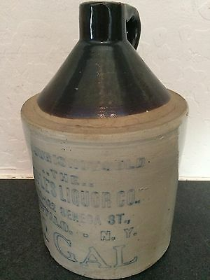 ANTIQUE STONEWARE LIQUOR JUG- People's Liquir Co,  Buffalo, Ny-  1 Gallon