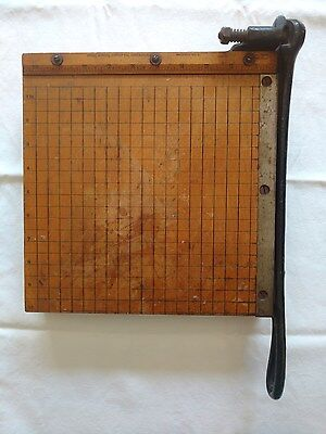 """Vintage Wooden Ingento No 3 PAPER CUTTER 10"""" trimmer Cast Iron Guillotine"""
