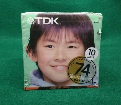 Rare TDK Gold Silver Mix 10 pack of recordable Minidiscs, 74 Minutes, Japan