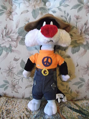 """15"""" 1998 Looney Tunes Plush Sylvester doll toy country style - repaired foot"""