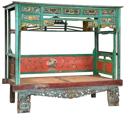Antique Hand Carved Wood Wedding Javanese Day Bed/Bench,94''X 84''H