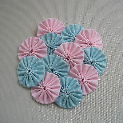 12 x 45mm Pink & Mint Fabric Yoyos- Quilting Applique Scrapbooking Embellishment