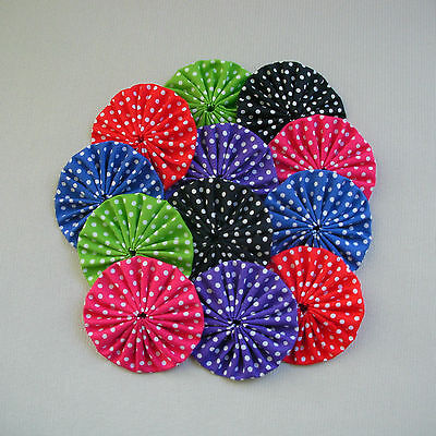 12 x 60mm Bright Fabric Yoyos - Quilting Applique Scrapbooking Embellishment