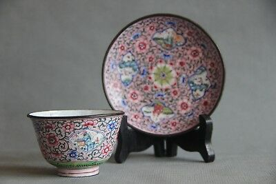 Antique 18th Century Chinese Qing Period Enamel on Copper Tea Cup with Saucer