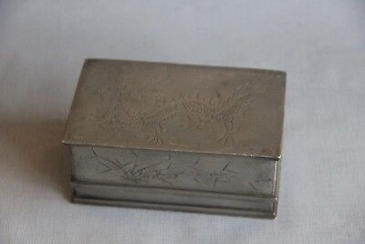 Antique Early 20th Century Chinese Republic Period Schoolar Item Pewter Ink Box