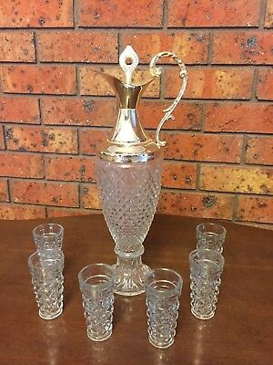 Silver Plated Crystal Decanter With 6 Liqueur Glasses