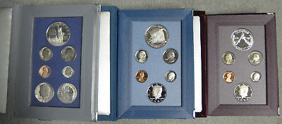 1986 1987 and 1988 Prestige Proof Sets including Boxes & COA's