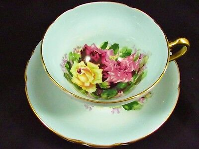 Stanley Pink Red Yellow Roses Gold Handle Blue Tea Cup And Saucer