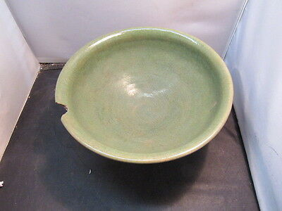 Vintage Arts and Crafts matte green art pottery bowl